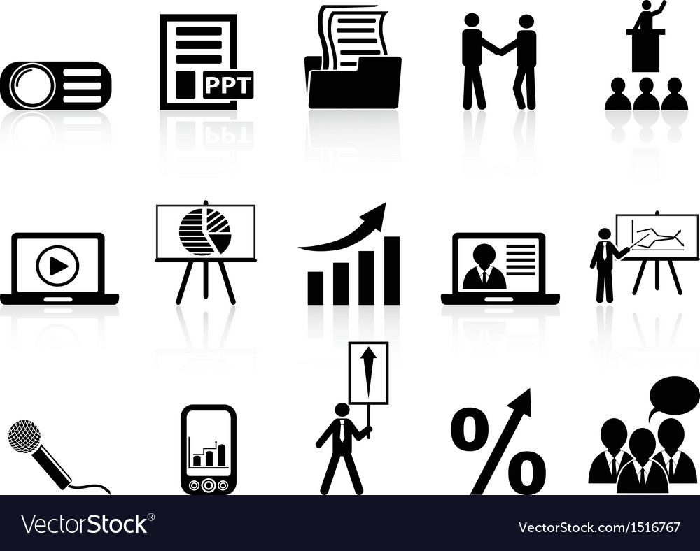 Business presentation icons set vector | Price: 1 Credit (USD $1)