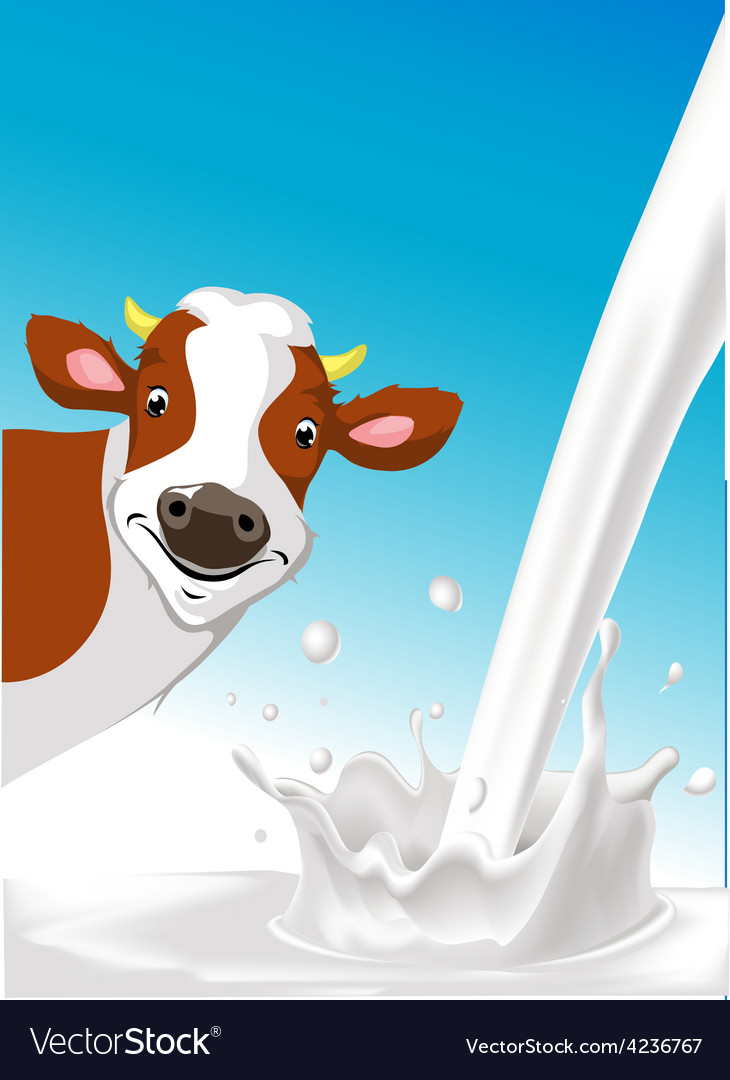 Design with cow and pouring milk splash vector | Price: 1 Credit (USD $1)