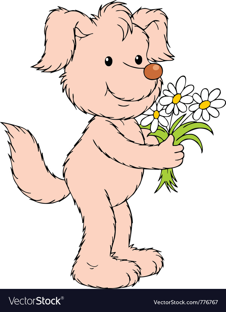 Dog with flowers vector | Price: 3 Credit (USD $3)