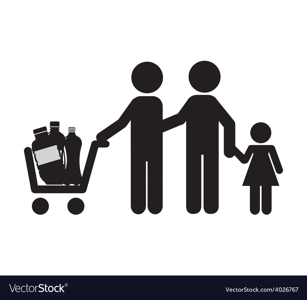 Family shopping vector | Price: 1 Credit (USD $1)