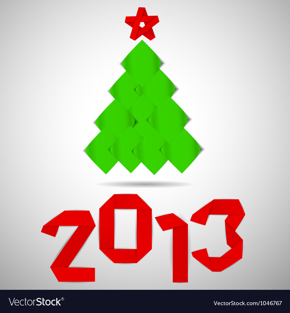 Green tree with red stripe 2013 numerals christmas vector | Price: 1 Credit (USD $1)