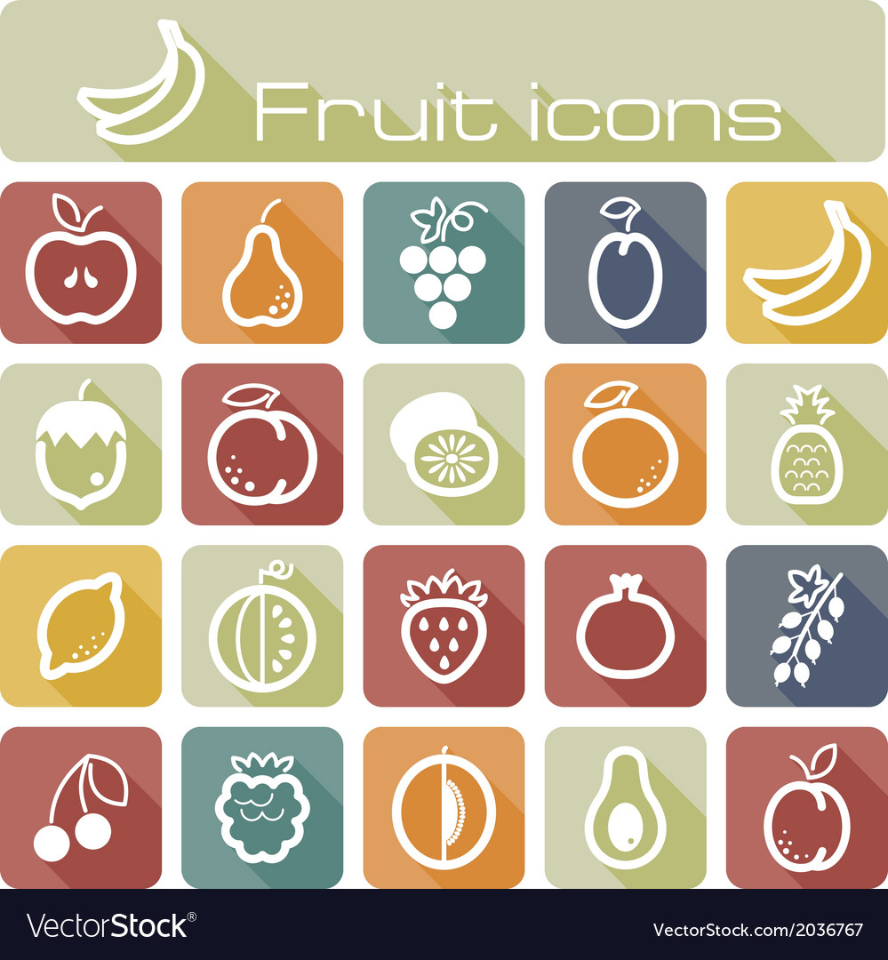 Icons set fruits vector | Price: 1 Credit (USD $1)