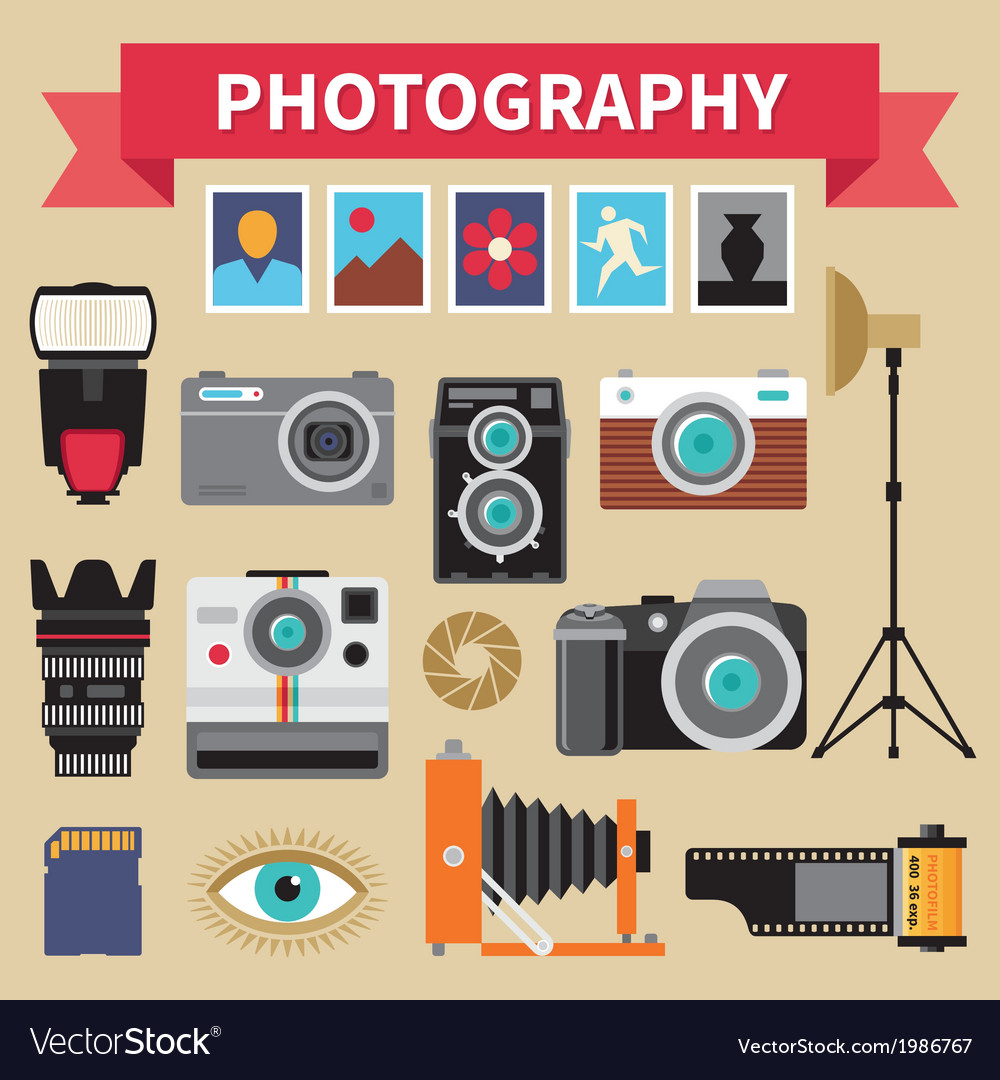 Photography - icons set - creative design vector | Price: 1 Credit (USD $1)