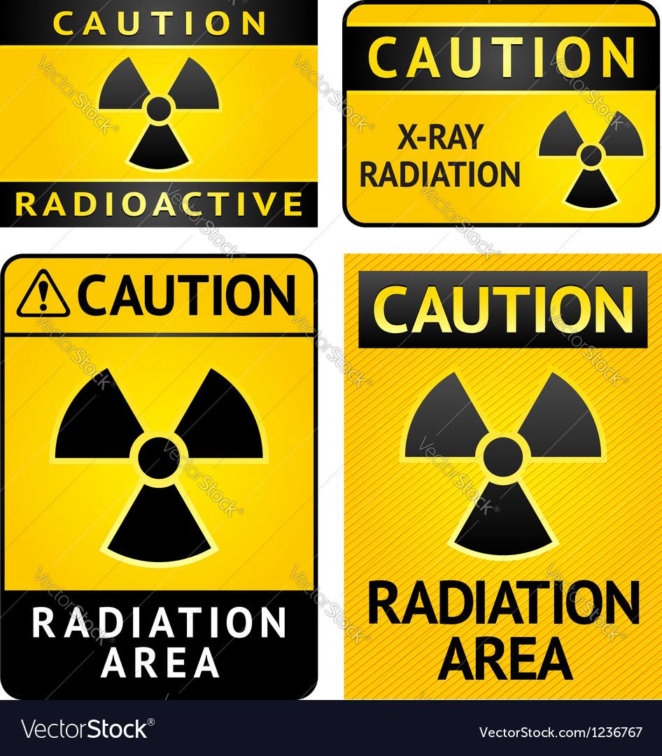 Radiation hazard stickers four labels vector | Price: 1 Credit (USD $1)
