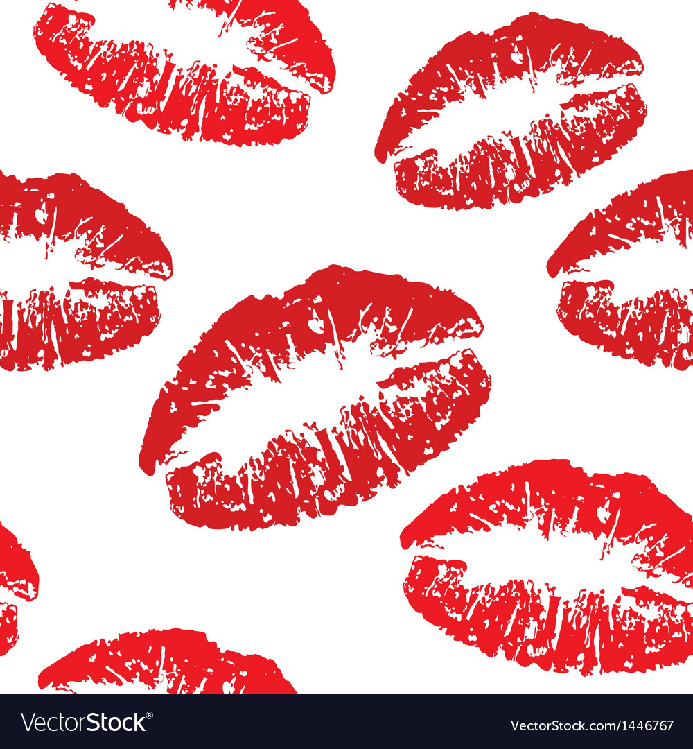 Red kiss print pattern vector | Price: 1 Credit (USD $1)