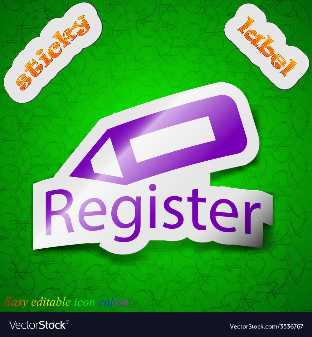 Register icon sign symbol chic colored sticky vector | Price: 1 Credit (USD $1)