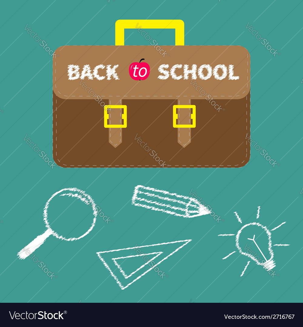 Schoolbag briefcase magnifier pencil light bulb vector   Price: 1 Credit (USD $1)