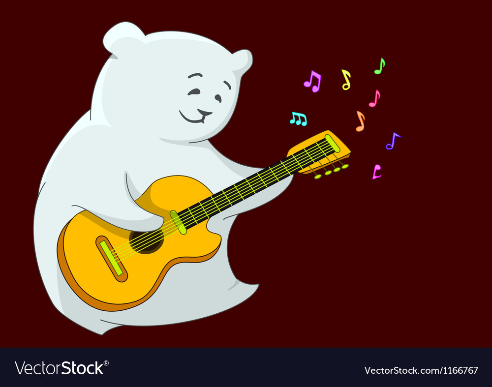 Teddy bear with guitar vector | Price: 1 Credit (USD $1)