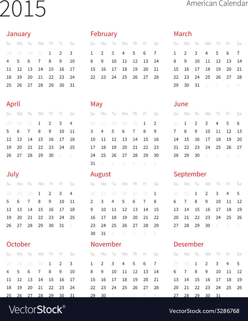 American calendar 2015 year week starts from vector | Price: 1 Credit (USD $1)