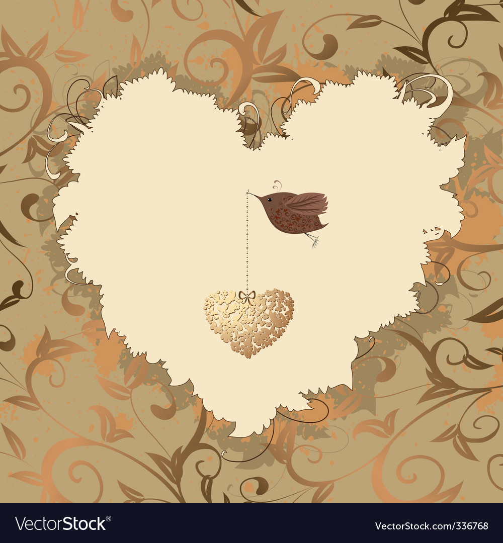Bird heart of gold vector | Price: 1 Credit (USD $1)