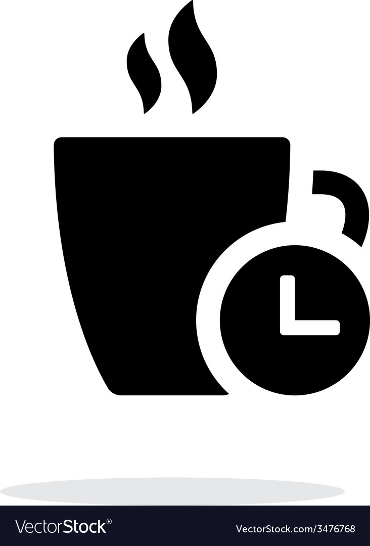 Coffe cup with time simple icon on white vector | Price: 1 Credit (USD $1)