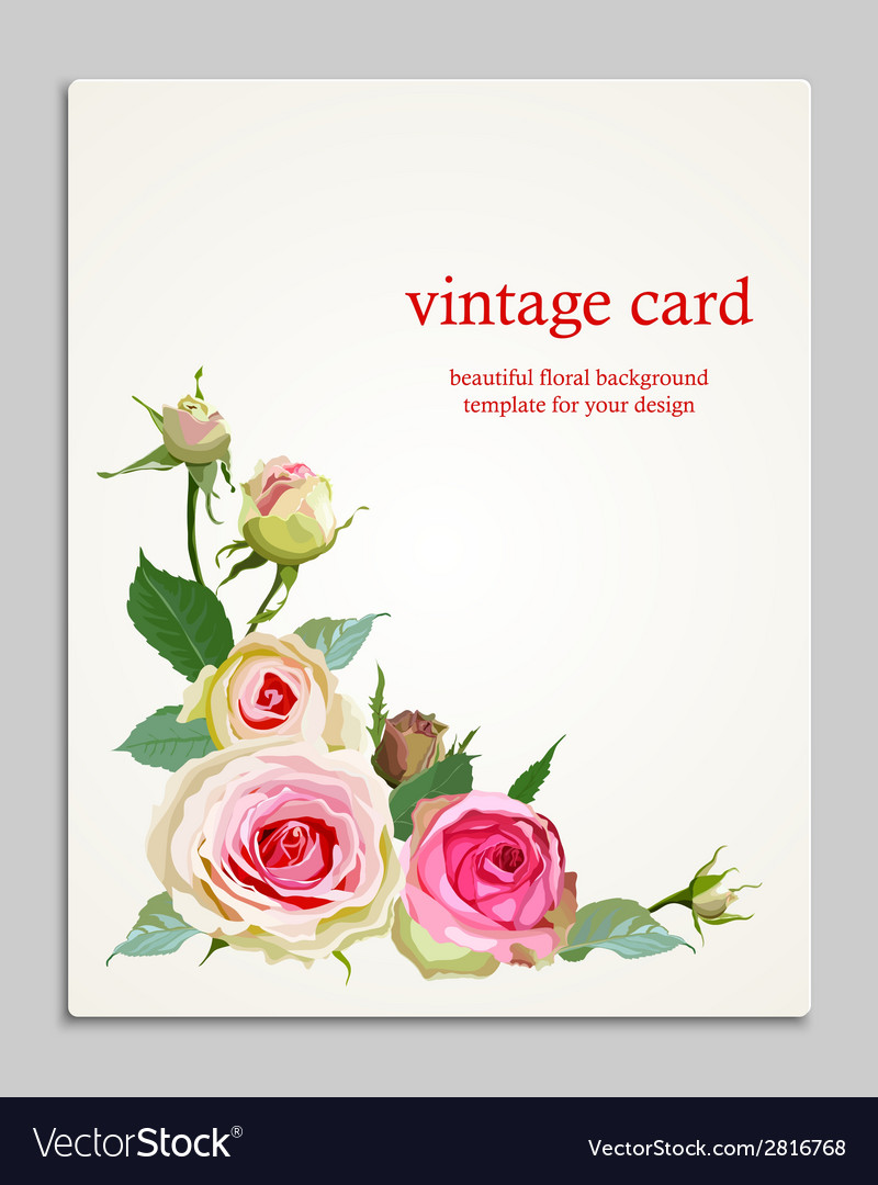 Floral background with vintage label vector | Price: 1 Credit (USD $1)
