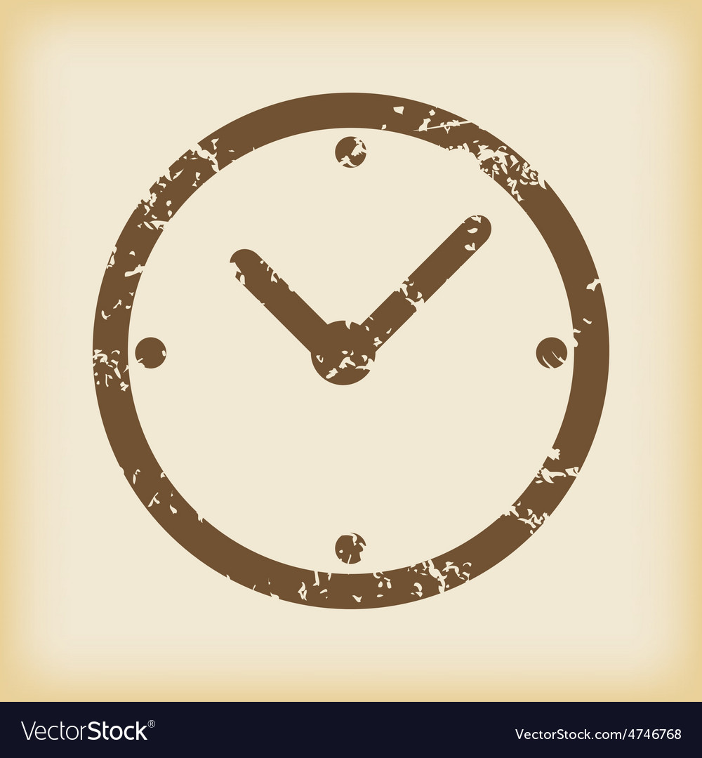 Grungy clock icon vector | Price: 1 Credit (USD $1)