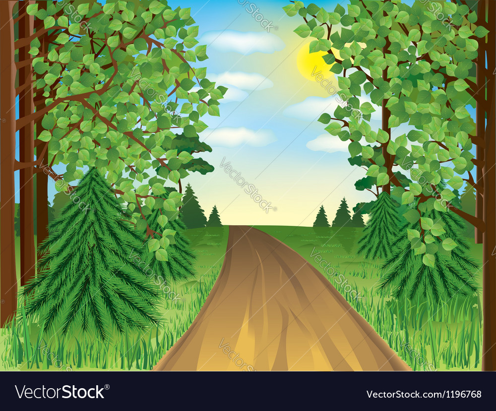 Realistic landscape spring or summer forest vector | Price: 1 Credit (USD $1)