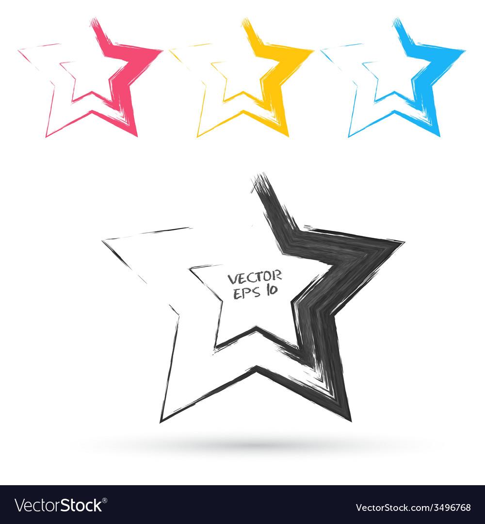 Set of hand color hexagones vector | Price: 1 Credit (USD $1)