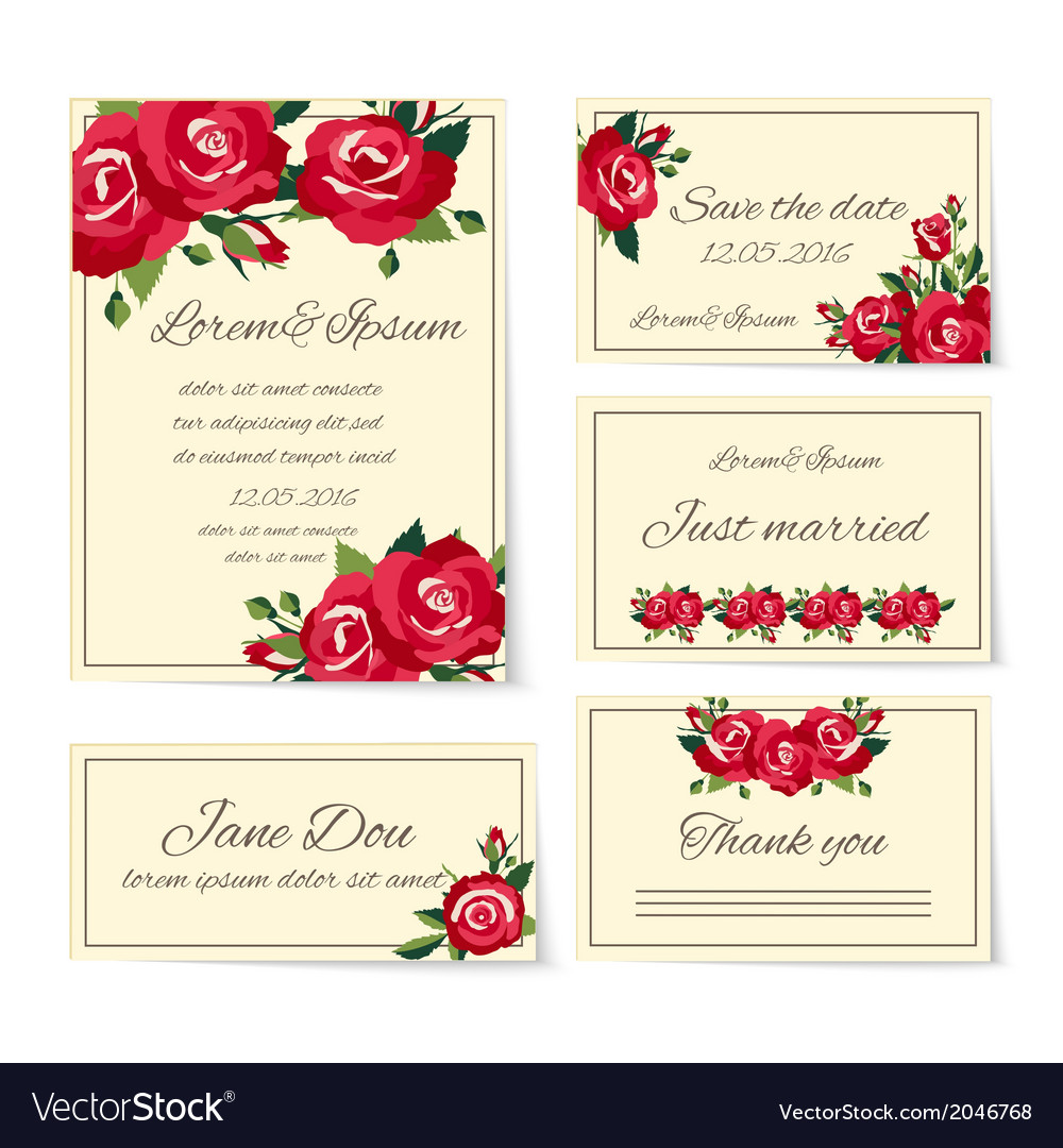 Set of wedding invitation cards with roses vector