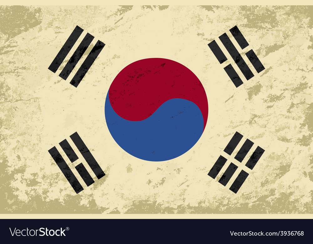 South korea flag grunge background vector | Price: 1 Credit (USD $1)