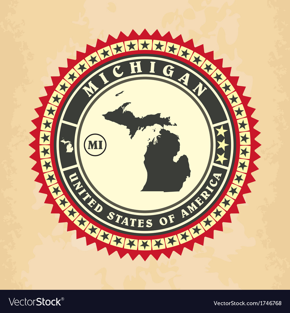 Vintage label-sticker cards of michigan vector | Price: 1 Credit (USD $1)