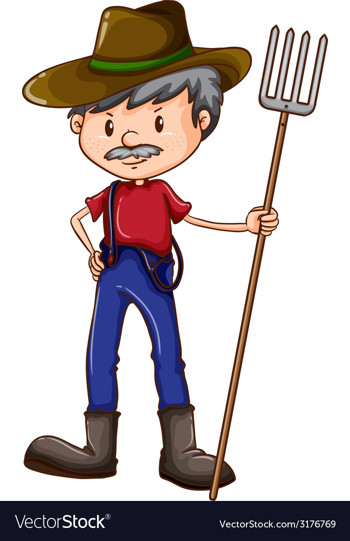 A sketch of a farmer vector | Price: 1 Credit (USD $1)