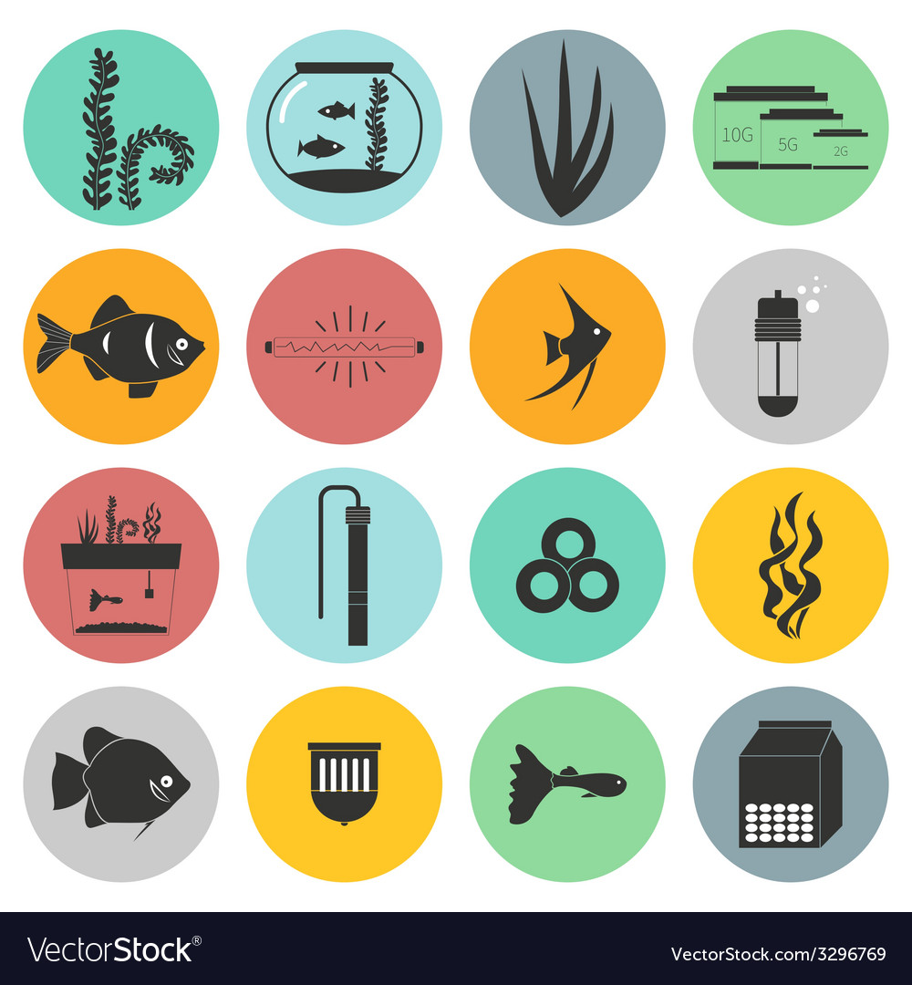 Aquarium icons vector | Price: 1 Credit (USD $1)