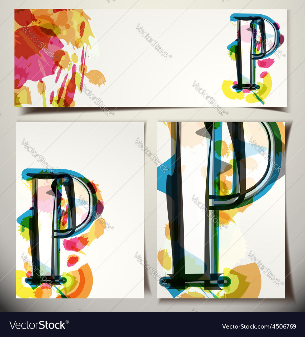 Artistic greeting card letter p vector | Price: 1 Credit (USD $1)