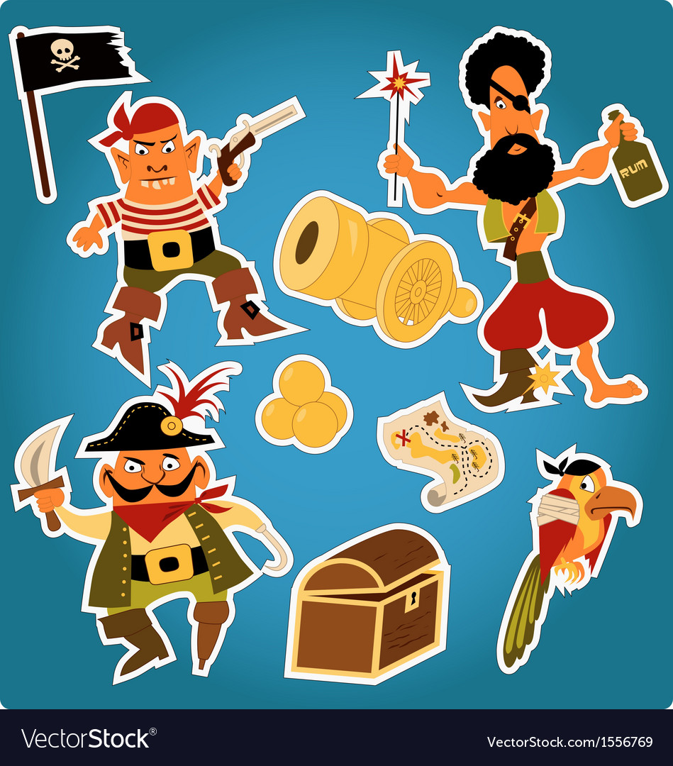 Cartoon pirates stickers vector | Price: 1 Credit (USD $1)
