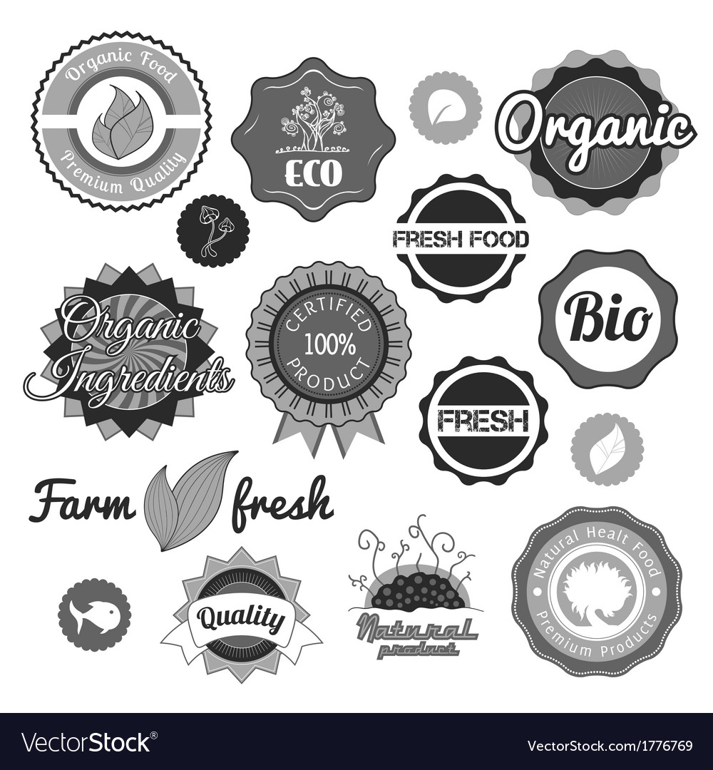 Collection green labels badges and icons vector | Price: 1 Credit (USD $1)