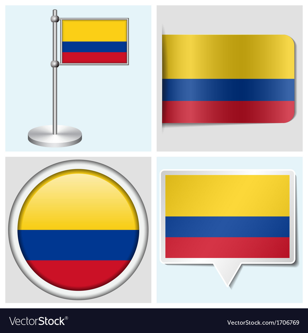 Colombia flag - sticker button label flagstaff vector | Price: 1 Credit (USD $1)