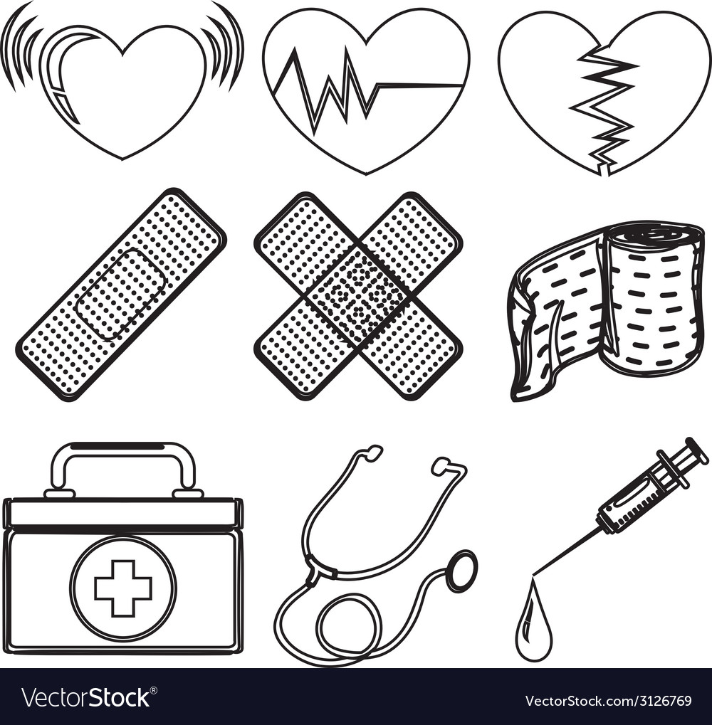 Doodle design of the different medical tools vector | Price: 1 Credit (USD $1)