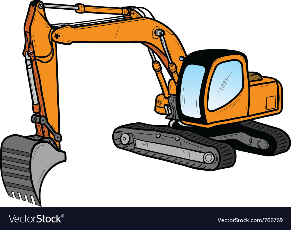 Excavator isolated on the white vector | Price: 1 Credit (USD $1)