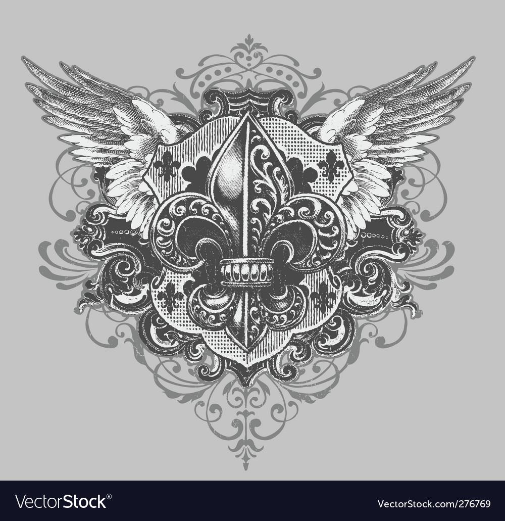 Fleur-de-lis crest vector | Price: 1 Credit (USD $1)