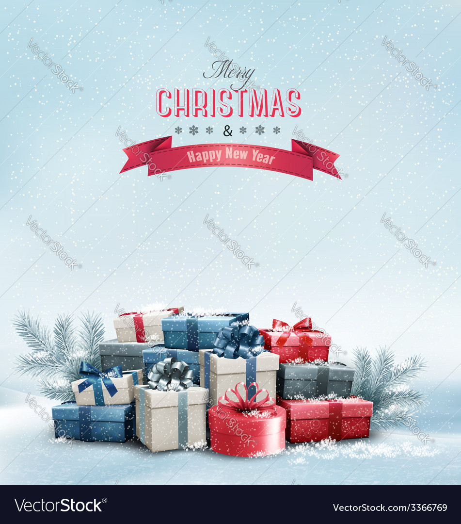 Holiday christmas background with gift boxes vector | Price: 5 Credit (USD $5)