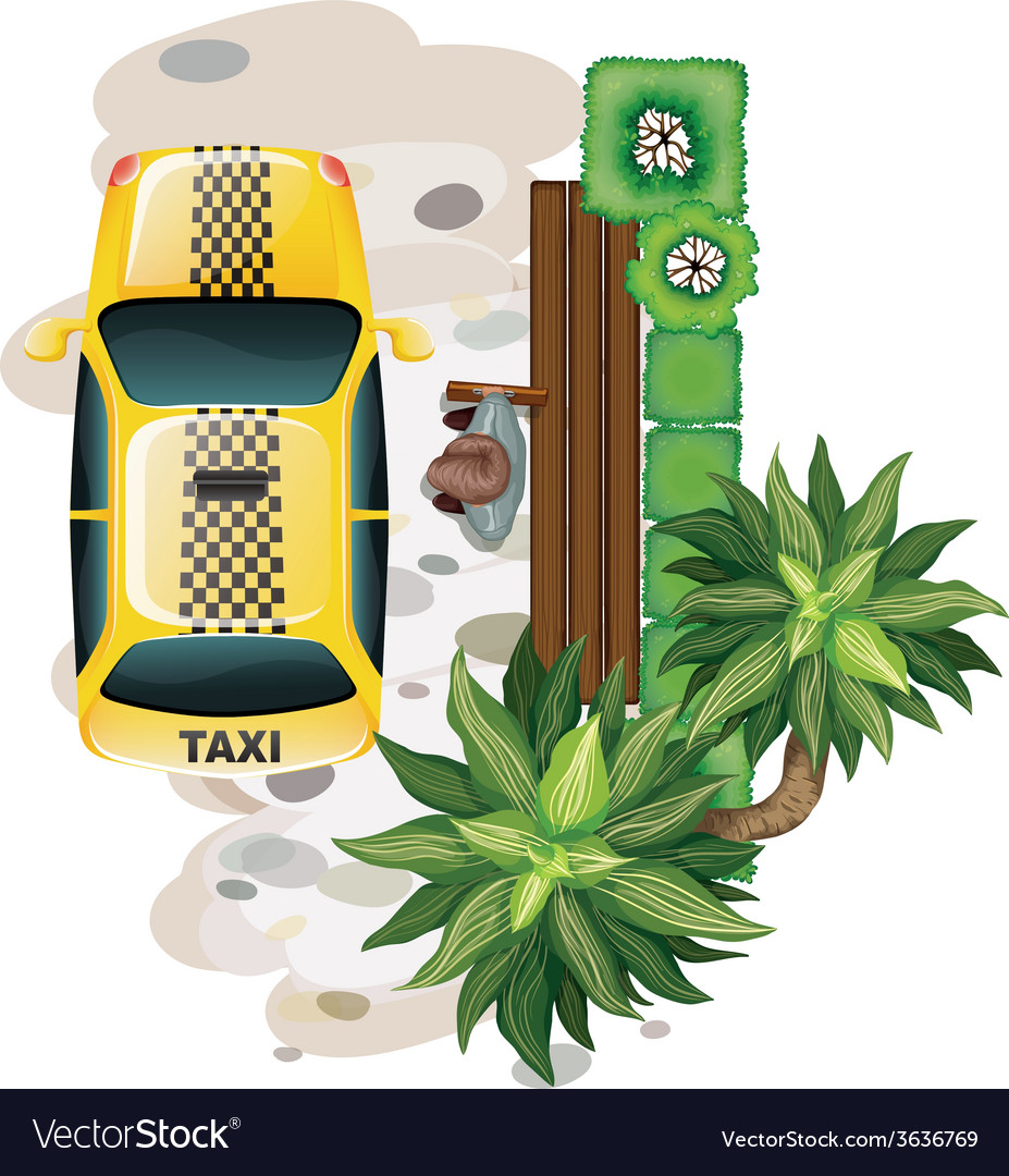 Man and taxi vector | Price: 1 Credit (USD $1)