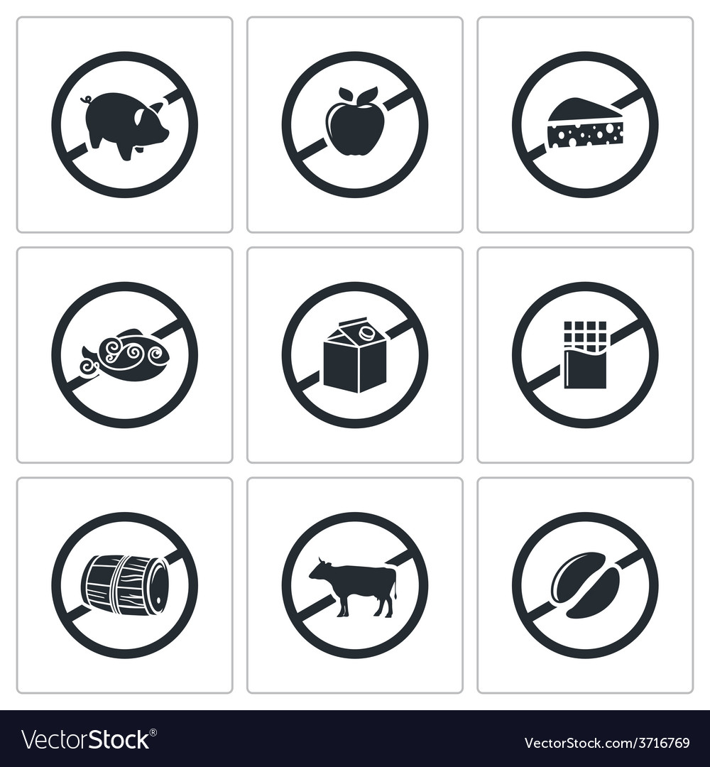 Prohibiting signs icons set vector | Price: 1 Credit (USD $1)