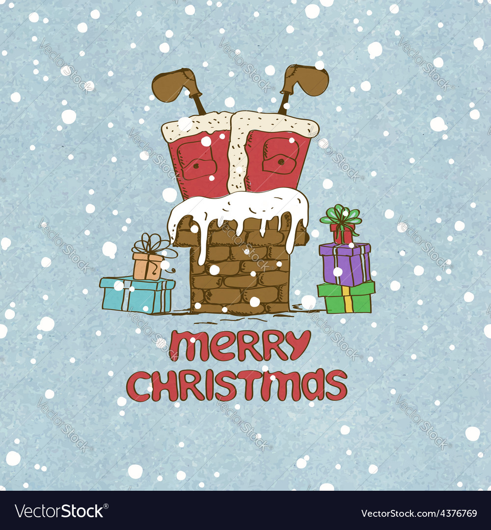 Santa claus stuck in chimney vector | Price: 1 Credit (USD $1)