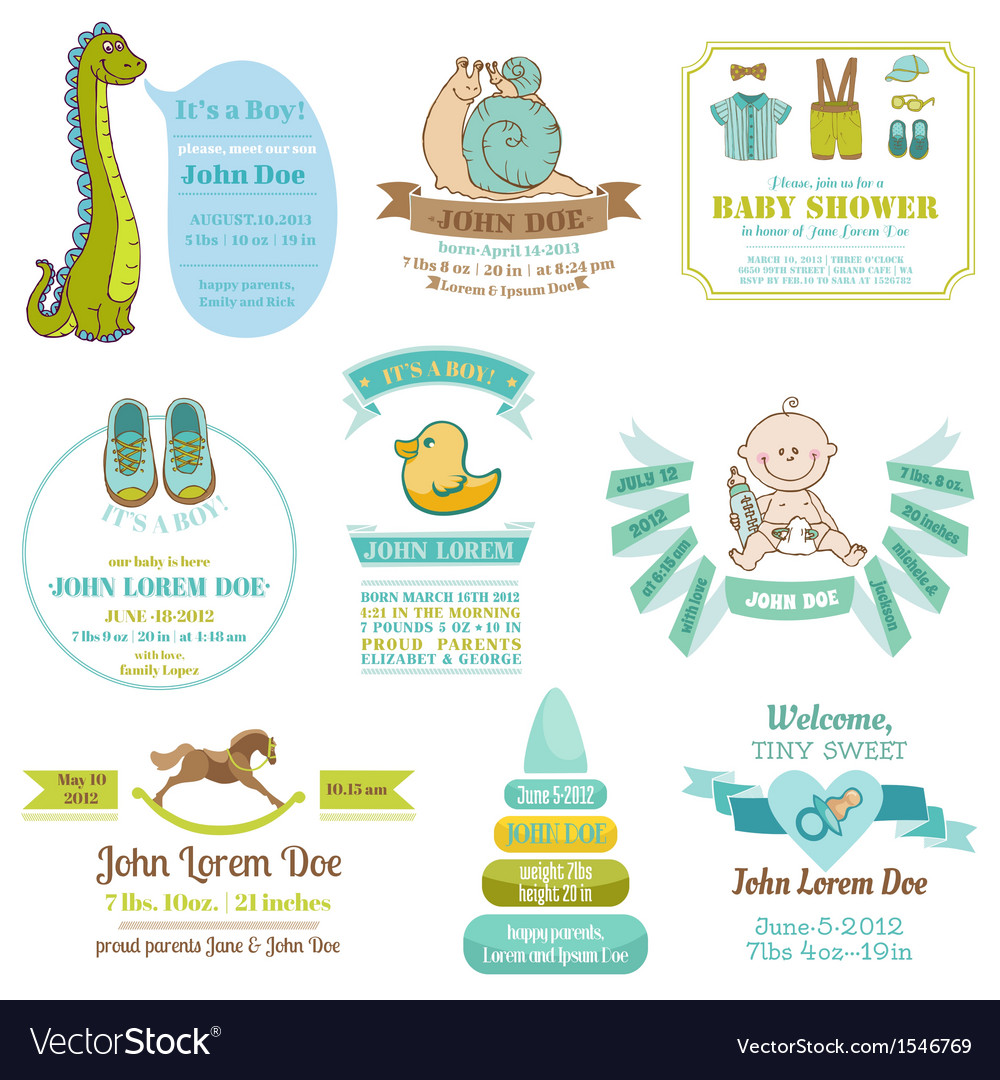 Set of baby shower and arrival cards vector | Price: 3 Credit (USD $3)