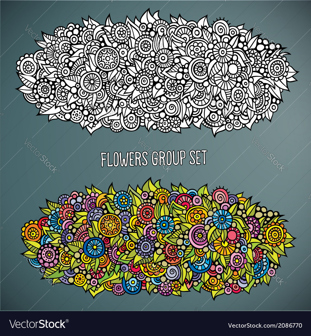 Flowers group set in different of color vector | Price: 1 Credit (USD $1)