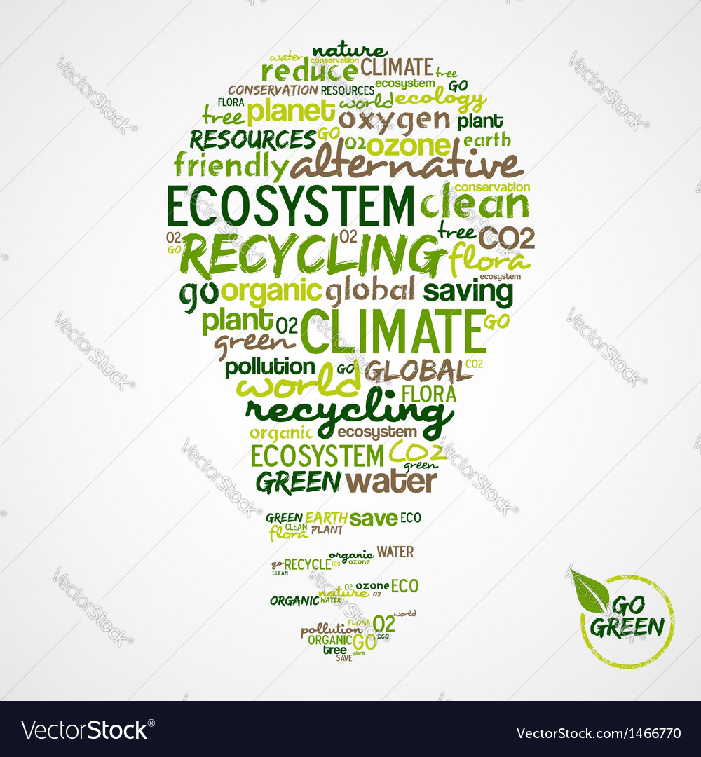 Go green words cloud about environmental vector | Price: 1 Credit (USD $1)
