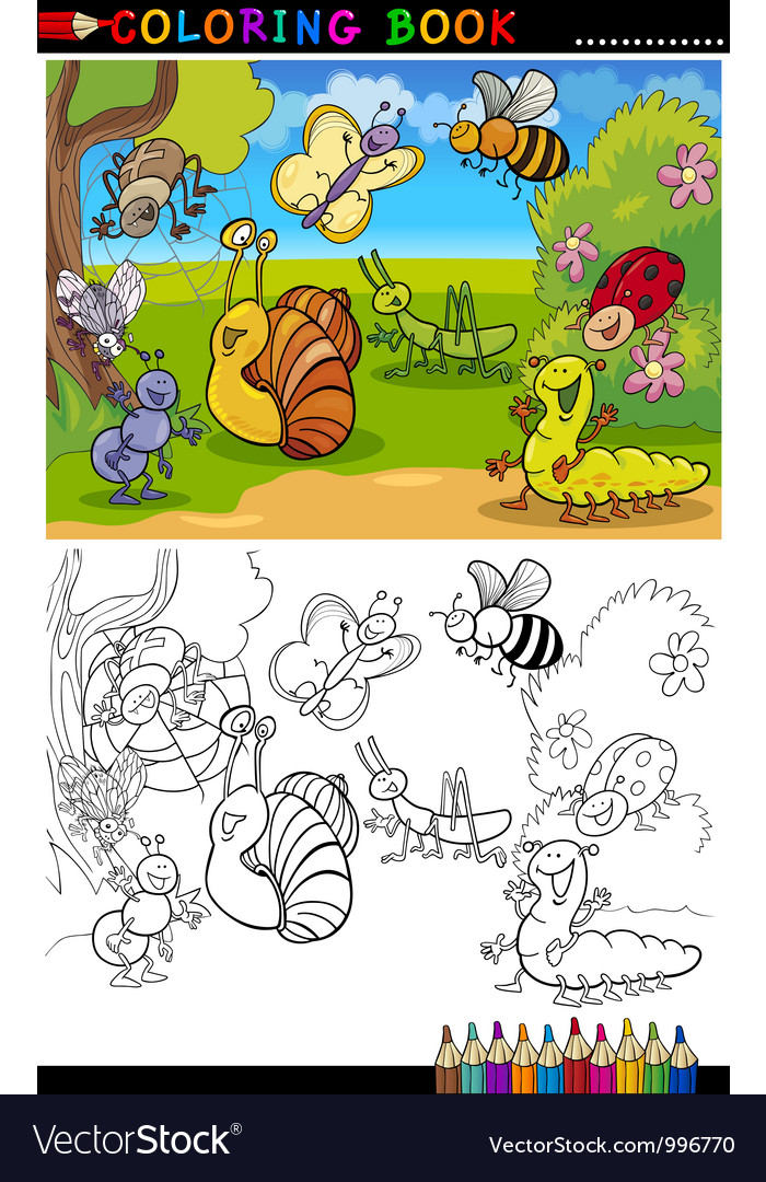Insects and bugs for coloring book or page vector | Price: 3 Credit (USD $3)