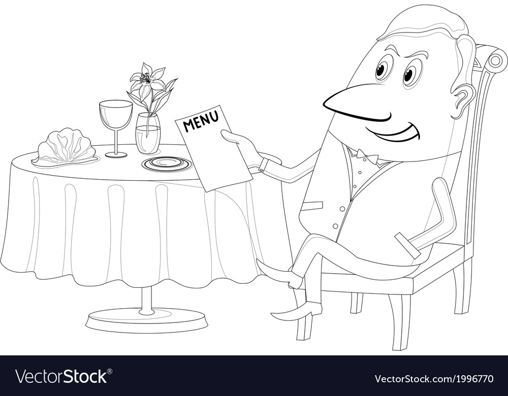 Restaurant man near table isolated contour vector | Price: 1 Credit (USD $1)