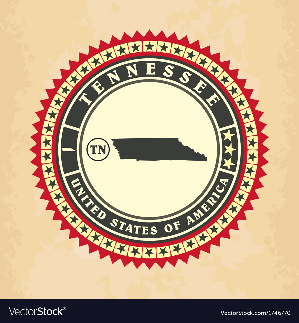 Vintage label-sticker cards of tennessee vector | Price: 1 Credit (USD $1)