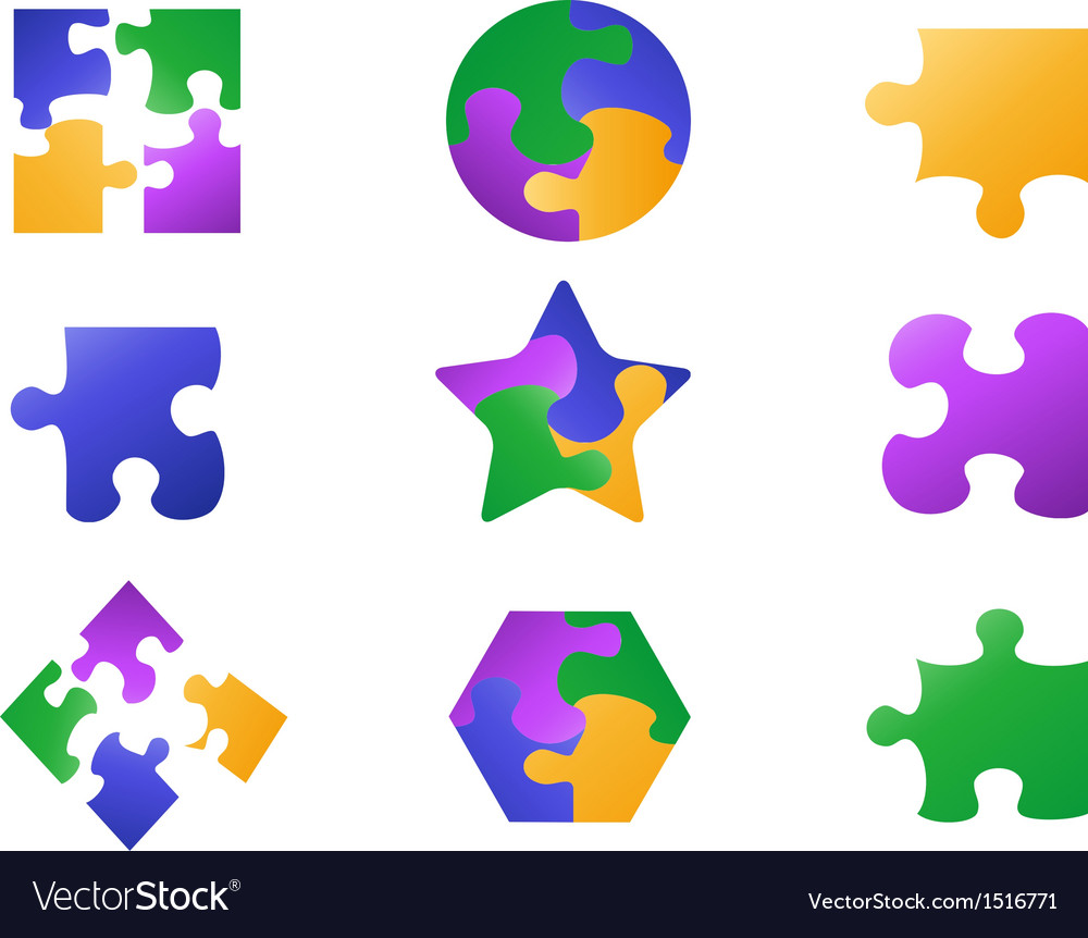 Color jigsaw puzzle icon vector | Price: 1 Credit (USD $1)