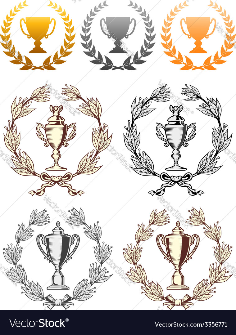 Cup trophies with laurel wreath vector | Price: 1 Credit (USD $1)