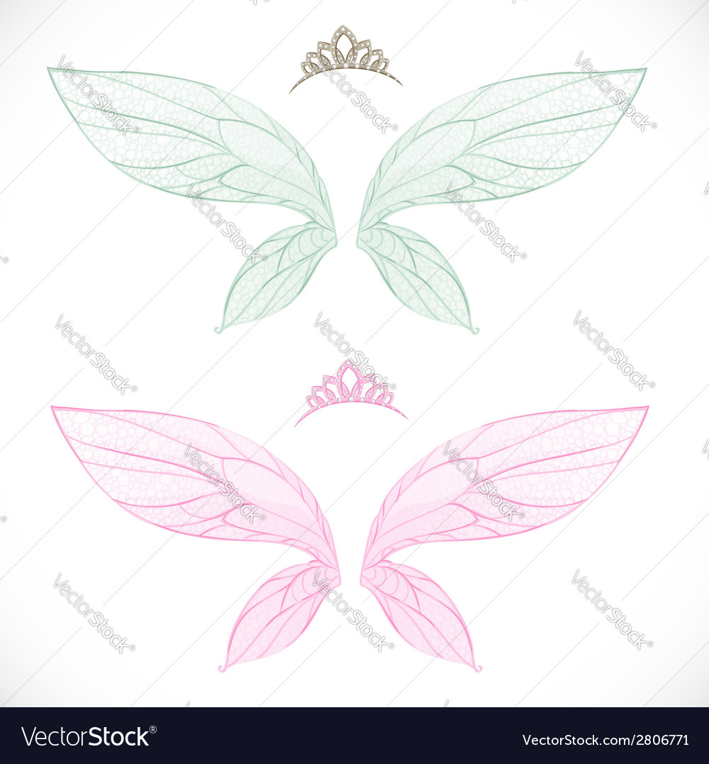 Fairy wings with tiara bundled isolated on a white vector | Price: 1 Credit (USD $1)