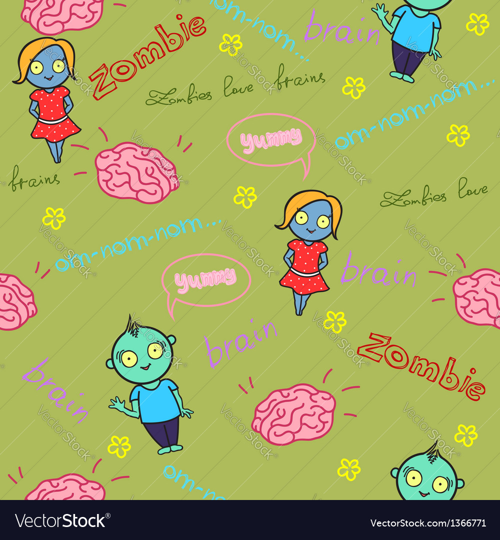 Funny seamless pattern with zombies and brain vector | Price: 1 Credit (USD $1)