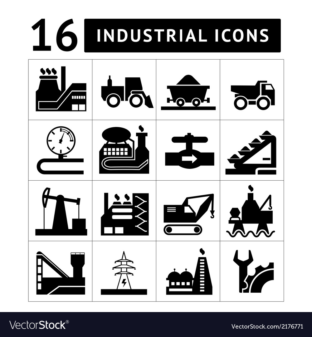 Industrial black icons set vector | Price: 1 Credit (USD $1)
