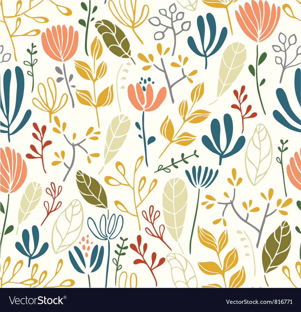 Leaves and flowers seamless pattern vector | Price: 1 Credit (USD $1)