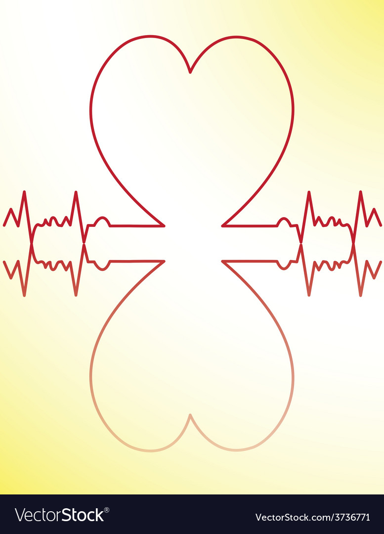 Red heart beats cardiogram vector | Price: 1 Credit (USD $1)