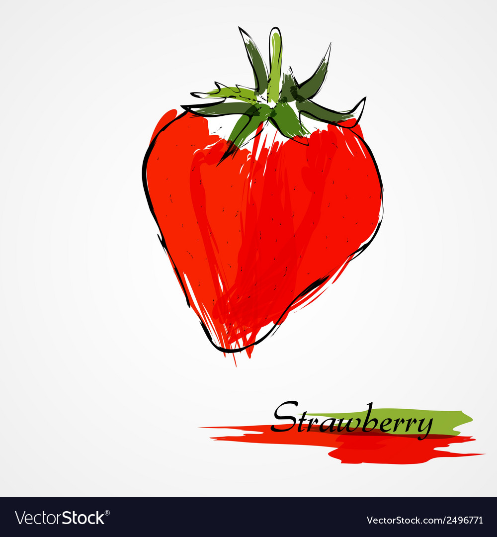 Red strawberry fruit vector | Price: 1 Credit (USD $1)