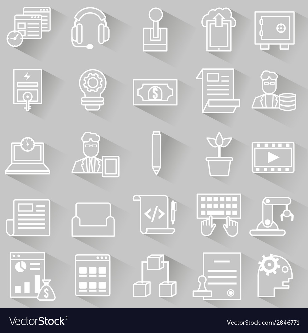 Set of business outline icons with shadow vector | Price: 1 Credit (USD $1)